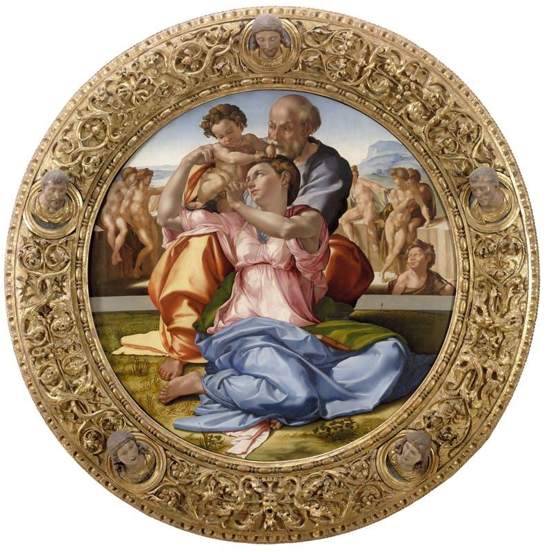 """Tondo Doni, """"La Sacra famiglia"""", Michelangelo, Uffizi di Firenze"""