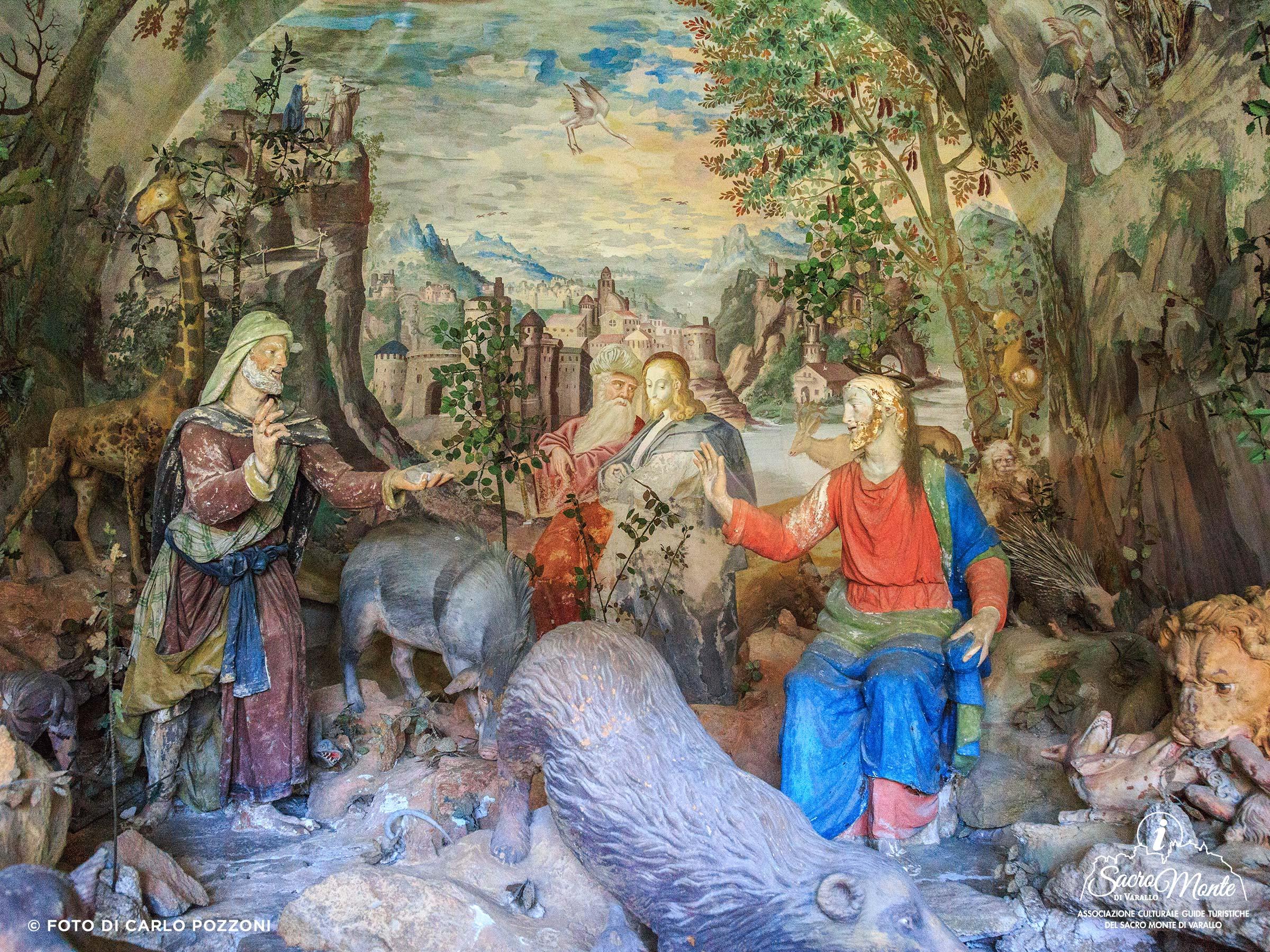 Tentazioni di Gesù nel deserto, cappella XIII, Sacro Monte di Varallo, in una foto di Carlo Pozzoni