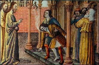 Gesù libera l'indemoniato a Cafarnao (Miniatura, Lione, Biblioteca Comunale)