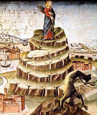 Gesù tentato dal diavolo (da miniatura del codice De Predis, XV secolo,  Torino, Biblioteca Reale)