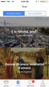Schermata dell'app Betwill per il social reading