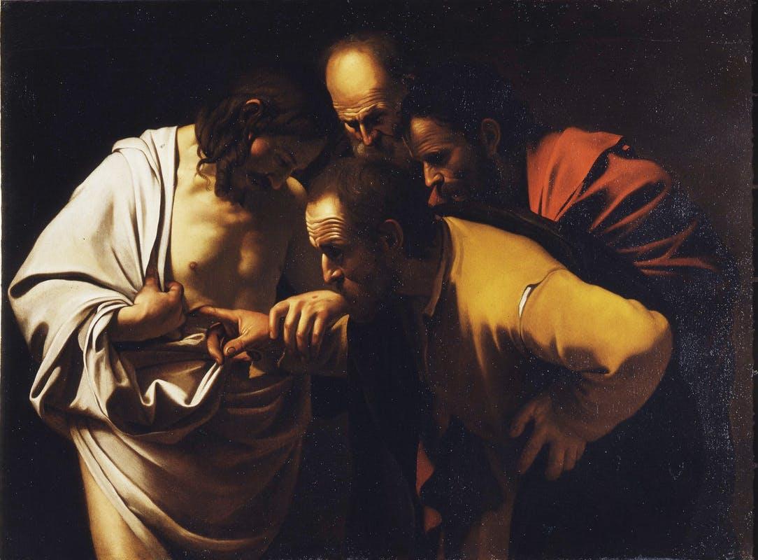 Incredulità di San Tommaso, copia da Caravaggio, Galleria degli Uffizi, Firenze